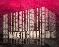 Made in China text. Made in China in bar code. Lines consist of same words vector illustration
