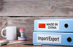 Made In China. Two binders on desk in the office. Business background.  stock images