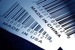 Made in China or USA. And barcode, business concept Royalty Free Stock Photos