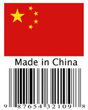 Made in Cihina barcode. Made in China flag with barcode Royalty Free Stock Photo
