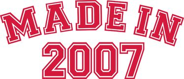 Made in 2007. College font Royalty Free Stock Images