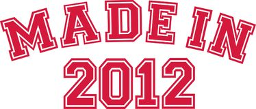 Made in 2012. College font Stock Images