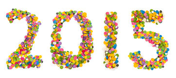 2015 made of confetti Royalty Free Stock Image