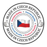 Made in Czech Republic, Premium quality -  label. Made in Czech Republic, Premium quality - grunge label / sticker / badge. Contains the national flag and colors Stock Images