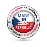 Made in Czech Republic, Premium Quality, trusted brand. Business commerce shiny icon with the Czech flag on the background. Suitable for retail industry Stock Photo