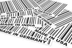 Made in ... 3d generate picture of some barcodes from different countries Royalty Free Stock Images