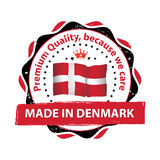 Made in Denmark, Premium quality. Because we care - label / icon / badge with the Danish flag. Print colors CMYK used Royalty Free Stock Image