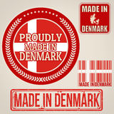 Made in Denmark set of stamps and labels Royalty Free Stock Images