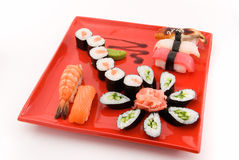 Made dish ekibana. Made dish of roll and sushi on white Stock Photos