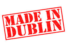 MADE IN DUBLIN. Red Rubber Stamp over a white background Stock Images