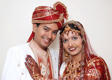 Made For Each Other. A happy Indian couple in their traditiona marriage dress stock photography