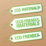 Made with Eco-friendly Materials labels. Stock Photos