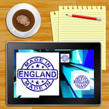Made In England On Cubes Shows English Production Tablet Royalty Free Stock Image