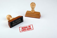Made in England. Rubber Stamper with Wooden handle Isolated on White Background Royalty Free Stock Photos
