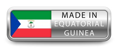 MADE IN EQUATORIAL GUINEA metallic badge with national flag isolated on white background.  stock illustration