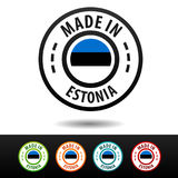 Made in Estonia badges with Estonian flag. Royalty Free Stock Photos