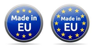 Made in EU. Ropean union - round button, EU flag Stock Photo