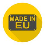 Made in EU icon with long shadow Royalty Free Stock Image