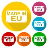 Made in EU icons set with long shadow Stock Photography