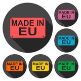Made in EU icons set with long shadow Stock Photo