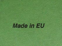 Made in EU. (meaning European Union) written on green paper Royalty Free Stock Photography