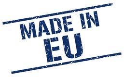 Made in eu stamp. Made in eu square grunge stamp isolated on white background. eu royalty free illustration