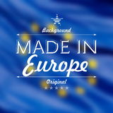 Made In Europe card  illustration blurred flag background Stock Photos