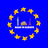 Made in Europe illustration,banner,sticker,emblem. stock photo