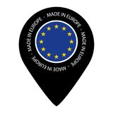 Made In Europe - Map Pointer Flag - Vector Illustration - Isolated On White Royalty Free Stock Photos