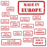 Made In Europe Stamps. Set of red rubber stamps of Made In symbols for Europe and surrounds Royalty Free Stock Photography