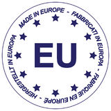 Made in Europe. A symbol with the text 'Made in Europe' in different languages and the EU text in the center Stock Photography