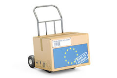 Made in European Union concept. Cardboard Box on Hand Truck, 3D Stock Photography