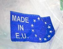 Made in european union plastic package, Stock Image