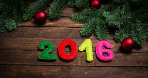 2016 made of felt and Christmas tree. Childish New year backgrou Royalty Free Stock Image