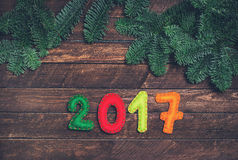 2017 made of felt and Christmas tree. Childish New year backgrou Royalty Free Stock Images