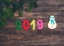 2019 made of felt and snowman gingerbread. Christmas fir tree. C stock image