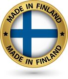 Made in Finland gold label with flag, vector illustration. Made in Finland gold label with flag, vector Stock Photography