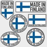 Made in Finland label set with flag, made in Finland, vector ill. Made in Finland label set with flag, made in Finland, vector Stock Image