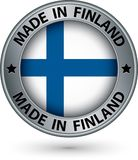 Made in Finland silver label with flag, vector illustration. Made in Finland silver label with flag, vector Royalty Free Stock Photos