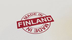 MADE IN FINLAND stamp red print on the paper. 3D rendering. MADE IN FINLAND stamp red print on the paper. 3D Royalty Free Stock Photography