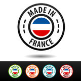 Made in France badges with French flag. Royalty Free Stock Photo