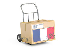 Made in France concept. Cardboard Box on Hand Truck, 3D renderin Royalty Free Stock Images