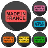 Made in France icons set with long shadow Stock Images