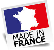 Made in France label. Label with a red, white and blue outline of France and the words, Made in France Royalty Free Stock Images