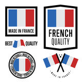 Made in France label set. Vector national flag Stock Photography