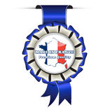 Made in France, Premium Quality - business retail award. Made in France, Premium Quality - business retail blue award ribbon for commercial purposes Royalty Free Stock Photo