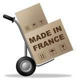 Made In France Shows Shipping Box And Cardboard Stock Photo