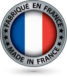 Made in France silver label with flag, vector illustration Stock Image