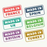 Made in france, spain, uk, belgium, britain and turky stamps set. Vector stock illustration