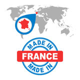 Made in France stamp. World map with red country. Royalty Free Stock Photo